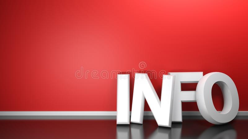EWIDENCYJNY biel 3D pisze przy czerwieni ścianą - 3D rendering royalty ilustracja