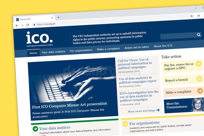 Ewidencyjny Commissioner Zjednoczone Królestwo U Biuro ICO K strony internetowej homepage zdjęcia royalty free