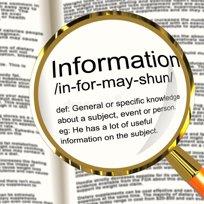 Ewidencyjny definici Magnifier Pokazuje wiedza fact I dane ilustracja wektor