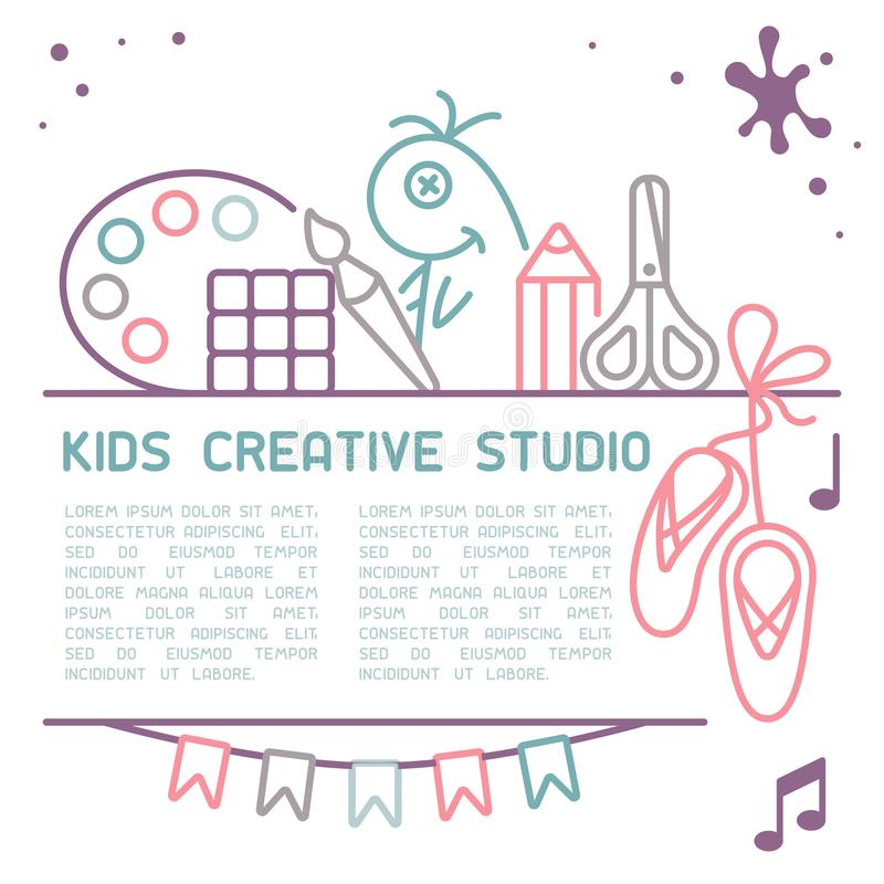 Ewidencyjny plakatowy pojęcie kreatywnie studio dla dzieci royalty ilustracja