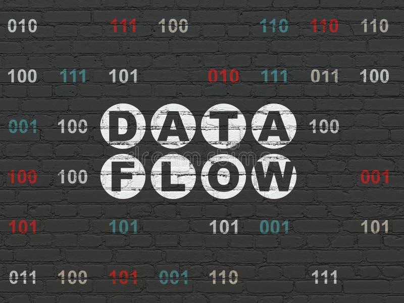 Ewidencyjny pojęcie: Dane przepływ na ściennym tle ilustracji