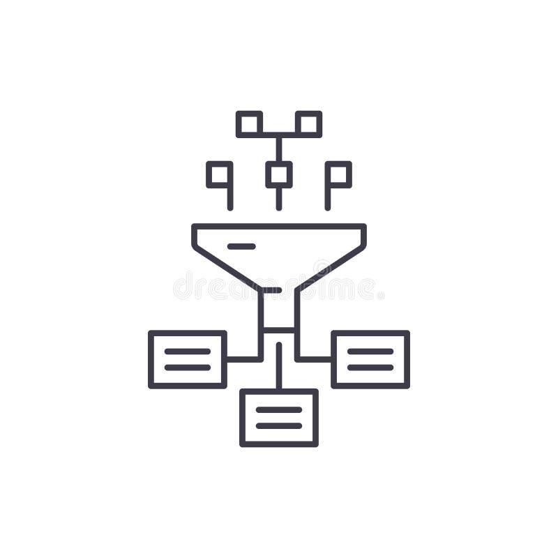 Ewidencyjny proces linii ikony pojęcie Informacja przetwarza wektorową liniową ilustrację, symbol, znak royalty ilustracja
