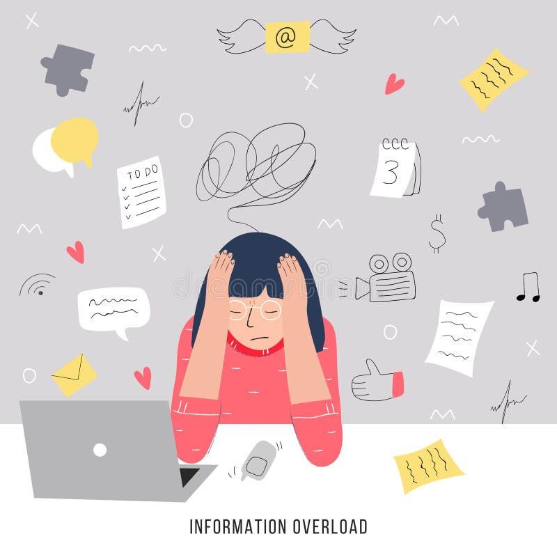 Ewidencyjny przeciążenie i multitasking problemu pojęcie Płaska i handdrawn wektorowa ilustracja ilustracja wektor