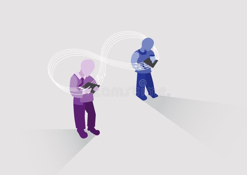 Ewidencyjny przepływ Współpraca i praca w partnerstwie Udostępnianie plików między użytkownikami ilustracji