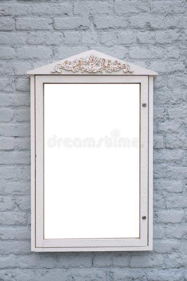 Ewidencyjny Signboard pokaz na ściana z cegieł reklamy Pustej przestrzeni obraz stock