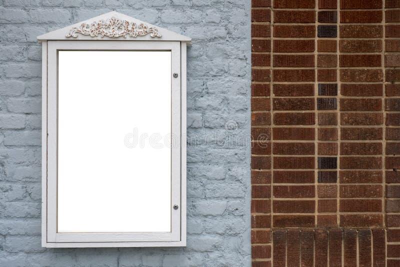 Ewidencyjny Signboard pokaz na ściana z cegieł reklamy Pustej przestrzeni zdjęcia royalty free