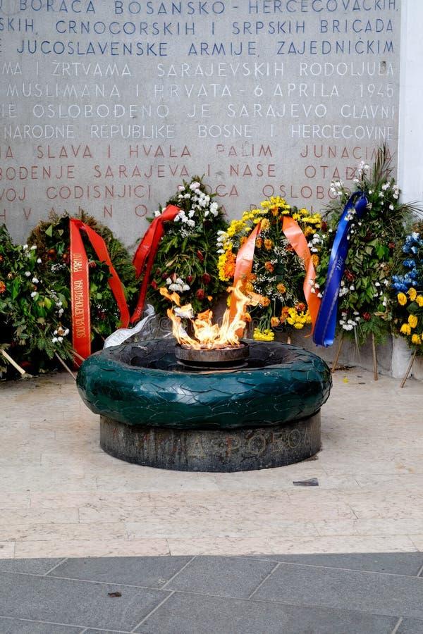 Ewige Flamme Sarajevos, Bosnien und Herzegowina stockfotografie