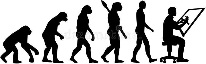 Ewoluci draftsman wektor ilustracji
