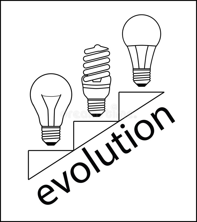 Ewolucj lampy ilustracji