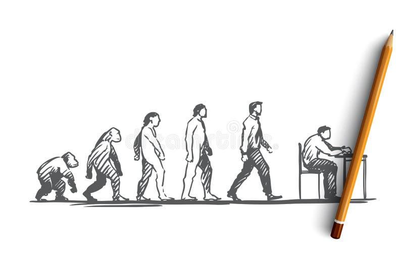 Ewolucja, biznesmen, programista, pierwotny pojęcie Ręka rysujący odosobniony wektor royalty ilustracja