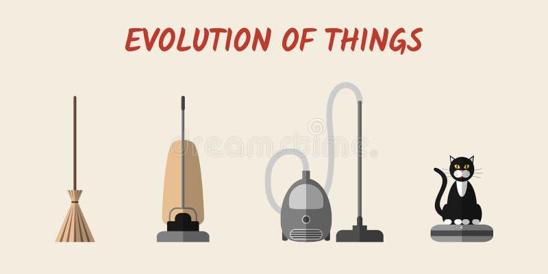 Ewolucja cleaning przyrząda ilustracja wektor