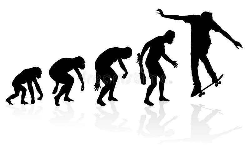 Ewolucja deskorolkarz ilustracji