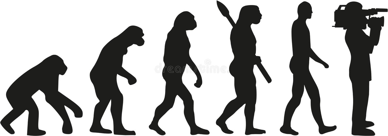 Ewolucja ekranizacja kamerzysta royalty ilustracja