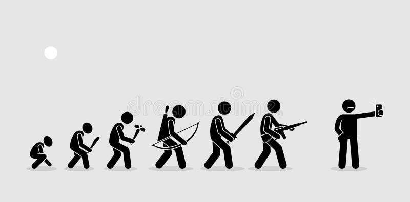 Ewolucja ludzkie bronie na historii linii czasu royalty ilustracja