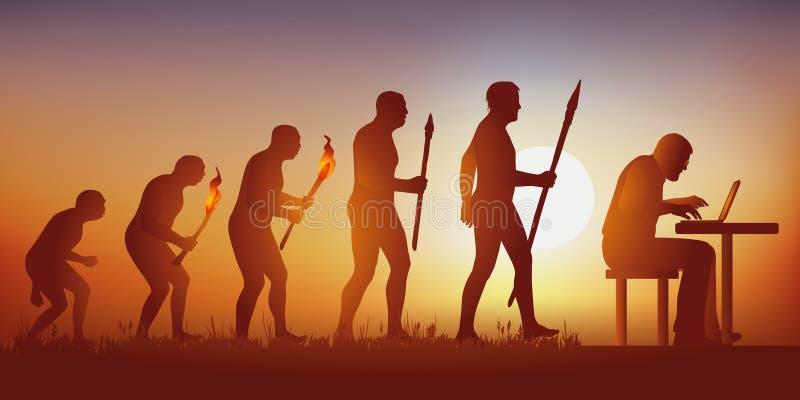Ewolucja ludzkość w kierunku hyperconnected światu prowadzącego ogólnospołecznymi sieciami i komputerami ilustracji