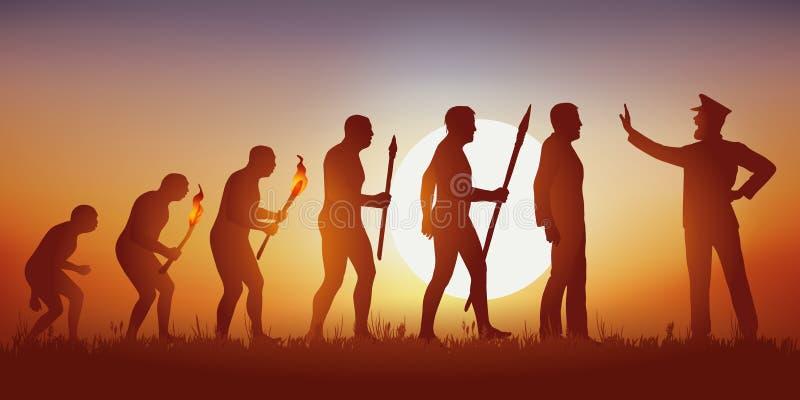 Ewolucja ludzkość według Darwin zatrzymywał w swój postępie autorytarnym mężczyzną royalty ilustracja