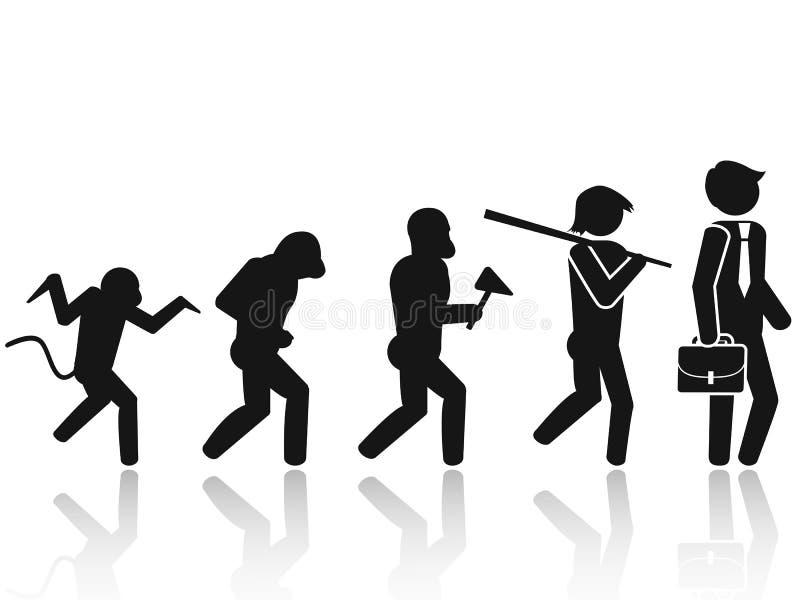 Ewolucja mężczyzna kija postaci piktograma ikona royalty ilustracja