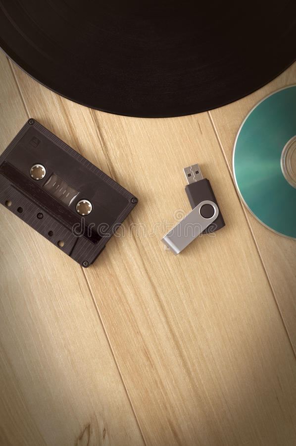 Ewolucja Muzyczni Magnetofonowi przyrząda obrazy stock