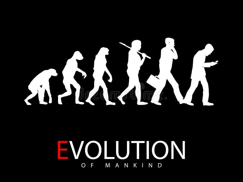 Ewolucja od małpy ogólnospołeczny środka nałogowiec ilustracja wektor