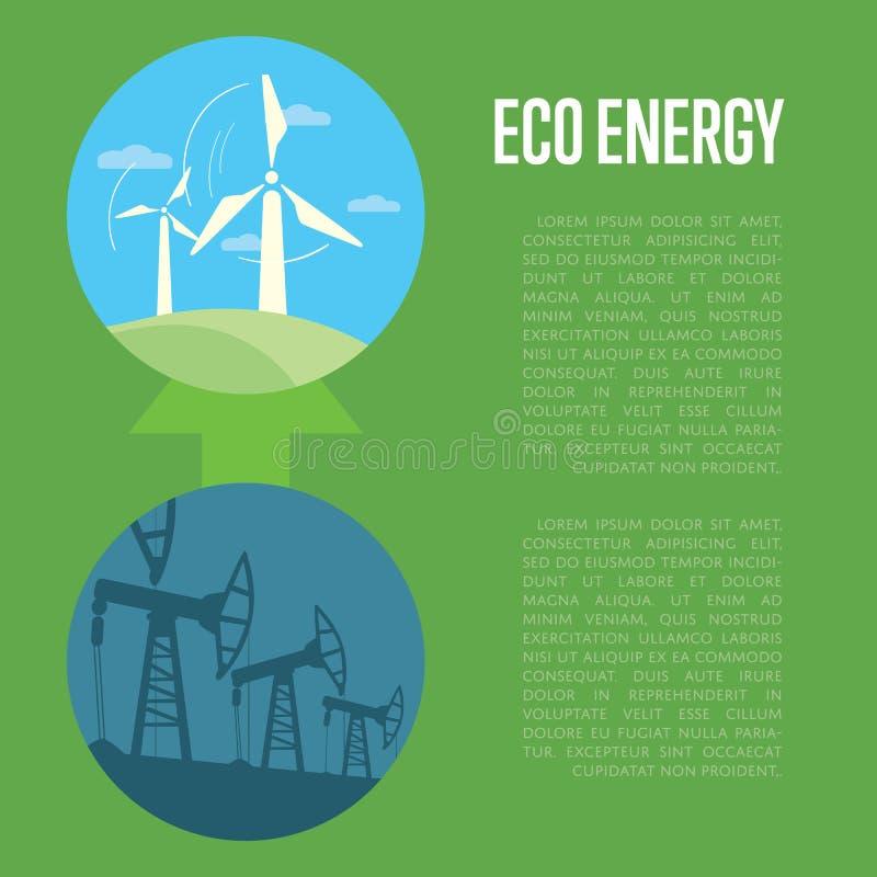 Ewolucja od przemysłowego zanieczyszczenia eco energia ilustracja wektor