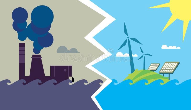 Ewolucja od przemysłowego zanieczyszczenia eco energia ilustracji