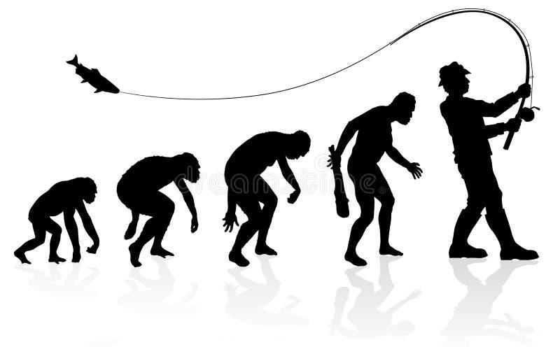 Ewolucja rybak royalty ilustracja