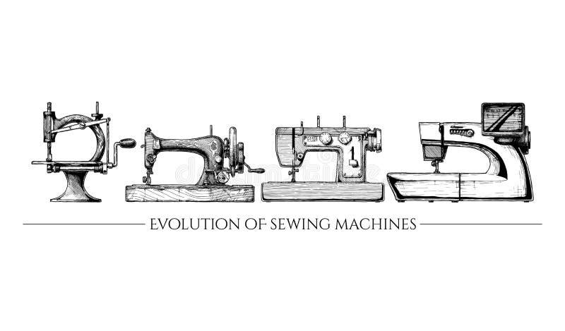 Ewolucja szwalne maszyny royalty ilustracja