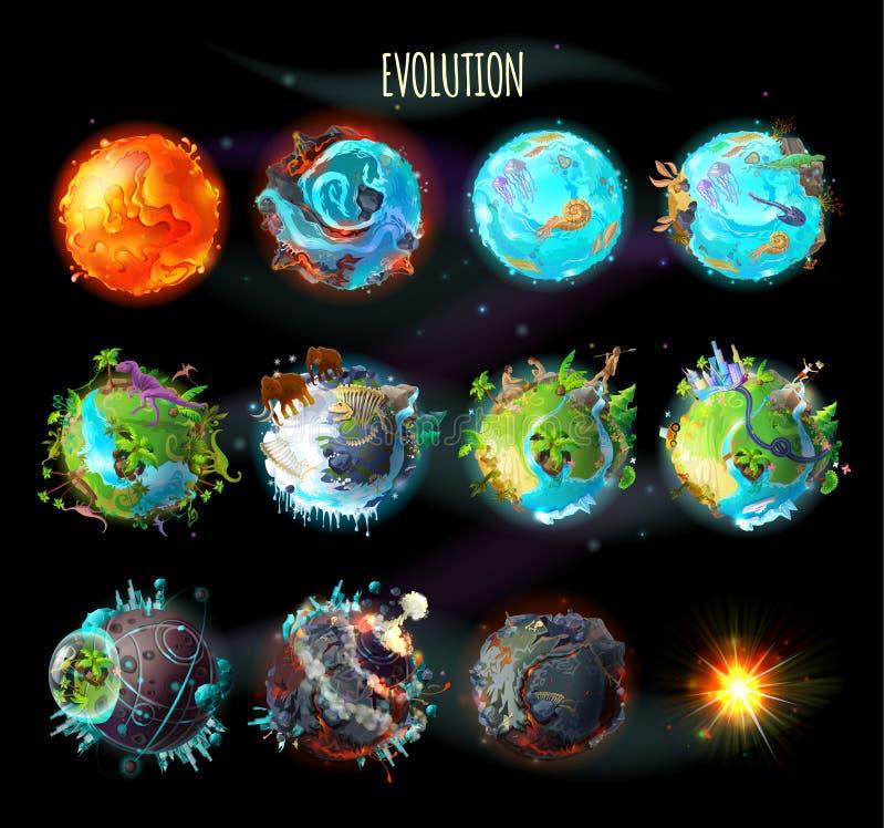 Ewolucja ziemia, wektorowa pojęcie ilustracja