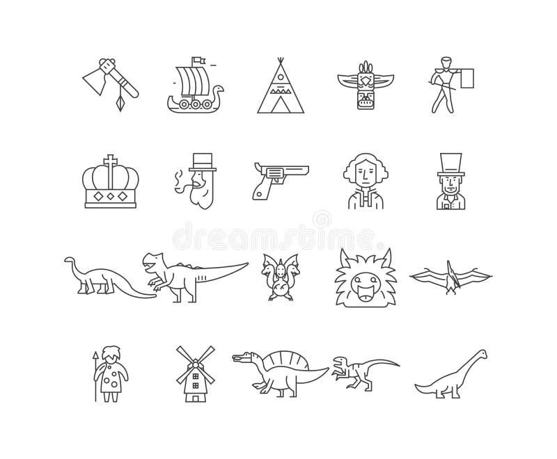 Ewolucji kreskowe ikony, znaki, wektoru set, kontur ilustracji poj?cie royalty ilustracja