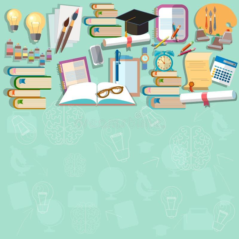Exámenes del diploma del fondo de la educación de nuevo a escuela stock de ilustración