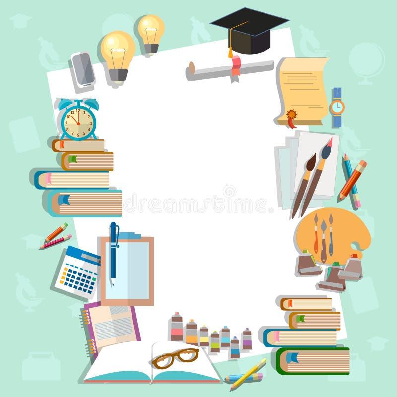 Exámenes del diploma del fondo de la educación de nuevo a universidad de la escuela stock de ilustración