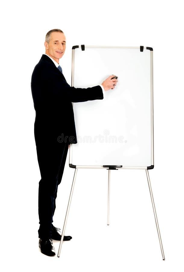 Exécutif masculin nettoyant un tableau de conférence images stock