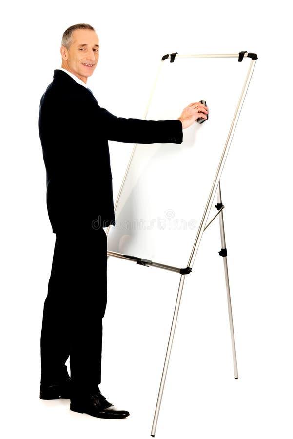 Exécutif masculin nettoyant un tableau de conférence images libres de droits