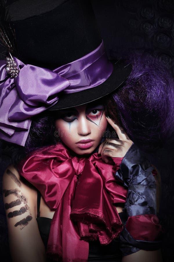 Exécution artistique de fantaisie de harlequin de femme image stock