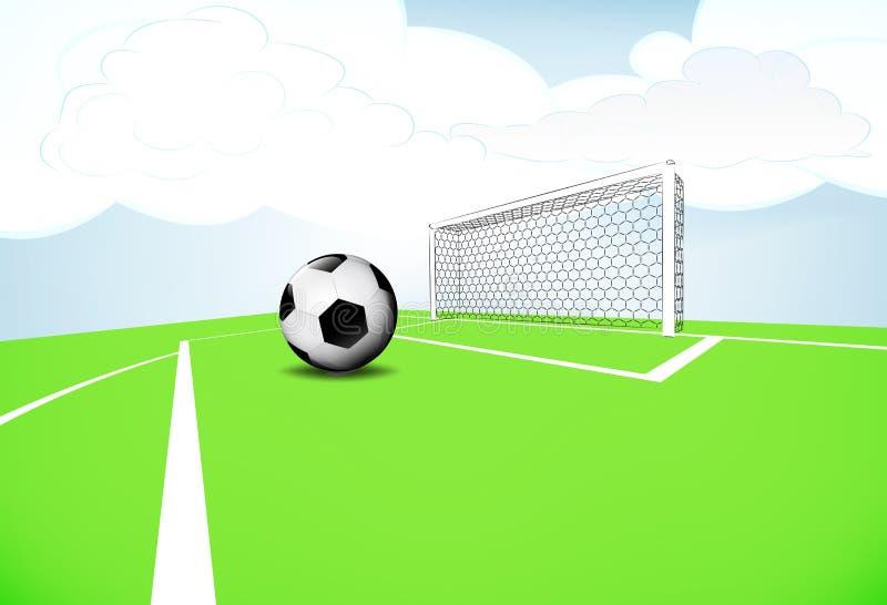 Exécution de pénalité de scène de terrain de jeu du football avec le ciel nuageux illustration de vecteur
