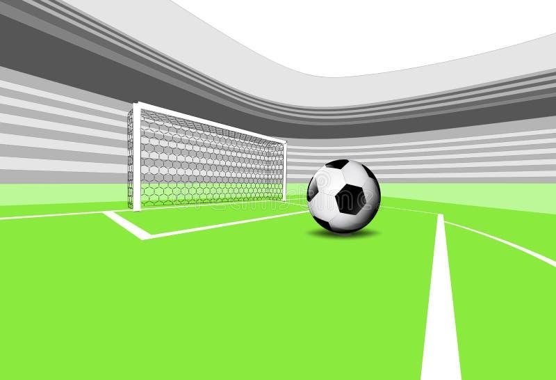Exécution de pénalité de scène de terrain de jeu du football avec le stade vide illustration libre de droits