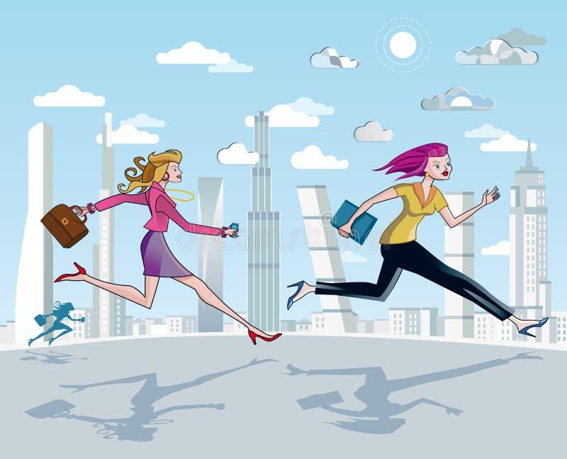 Exécution et gratte-ciel de femmes d'affaires illustration libre de droits