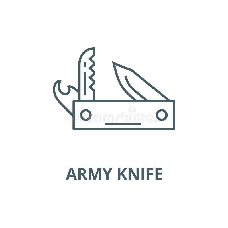 Exército da faca, ferramenta de múltiplos propósitos, linha suíça ícone do vetor, conceito linear, sinal do esboço, símbolo ilustração stock