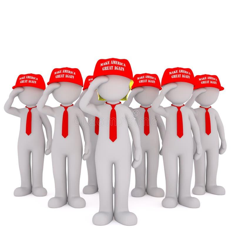 Exército de suportes de Donald Trump ilustração do vetor