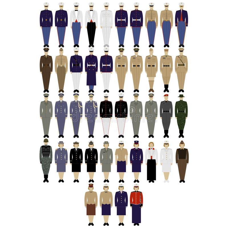 Exército dos EUA dos uniformes militares ilustração stock