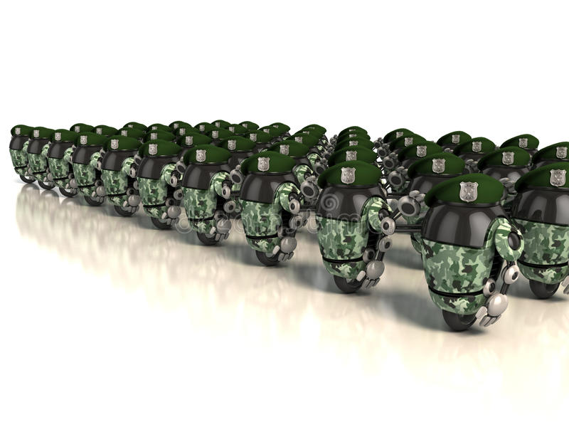 Exército dos robôs 3d ilustração do vetor