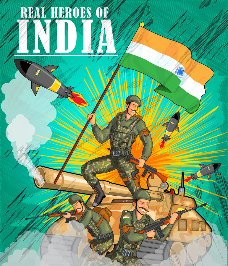 Exército indiano que mostra a vitória da Índia ilustração do vetor