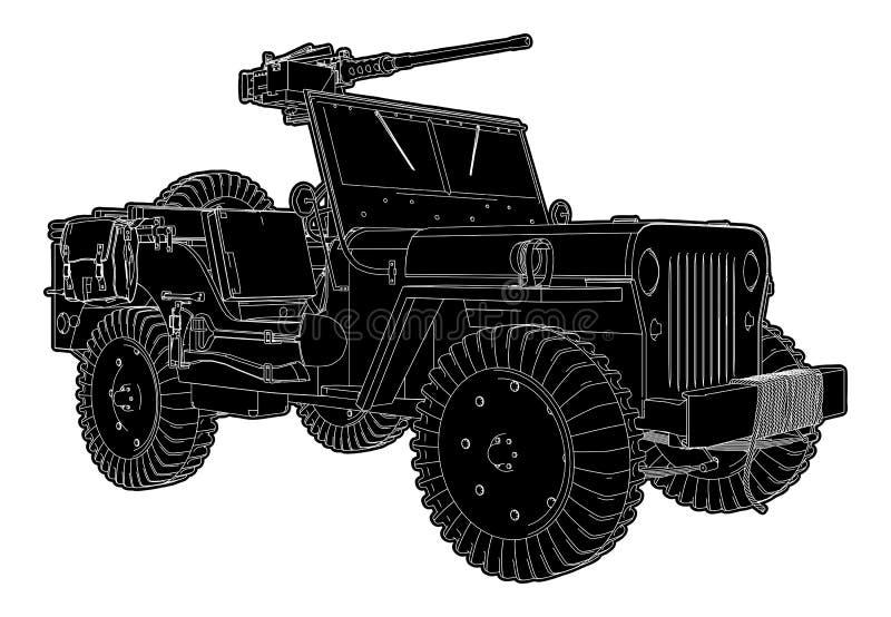 Exército Jeep Vetora ilustração stock