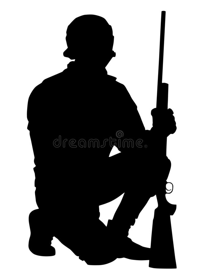 Exército ou atirador furtivo da polícia com a silhueta do vetor do rifle foto de stock