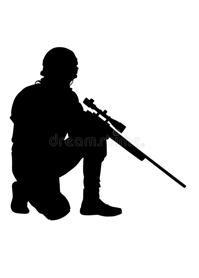 Exército ou atirador furtivo da polícia com a silhueta do vetor do rifle fotografia de stock royalty free