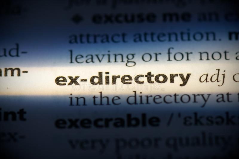 Ex-directory. Word in a dictionary.  concept, definition stock image