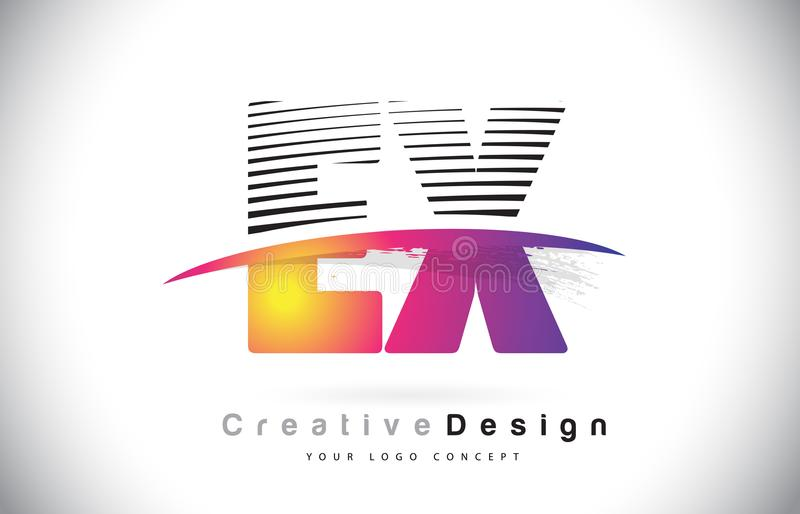 EX E X Letter Logo Design With Creative Lines and Swosh in Purple Brush Color. royalty free illustration