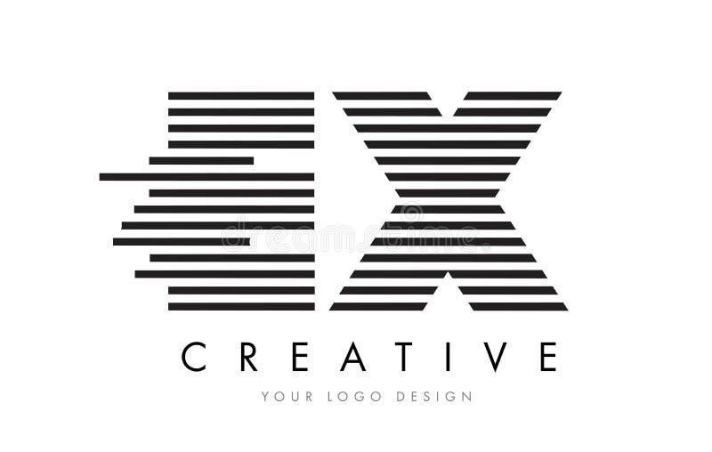EX E X Zebra Letter Logo Design with Black and White Stripes vector illustration