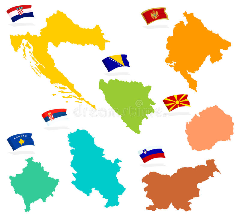 Ex Jugoslawien Karte.Karte Des Jugoslawiens Auf Erde 3d Stock Abbildung Illustration