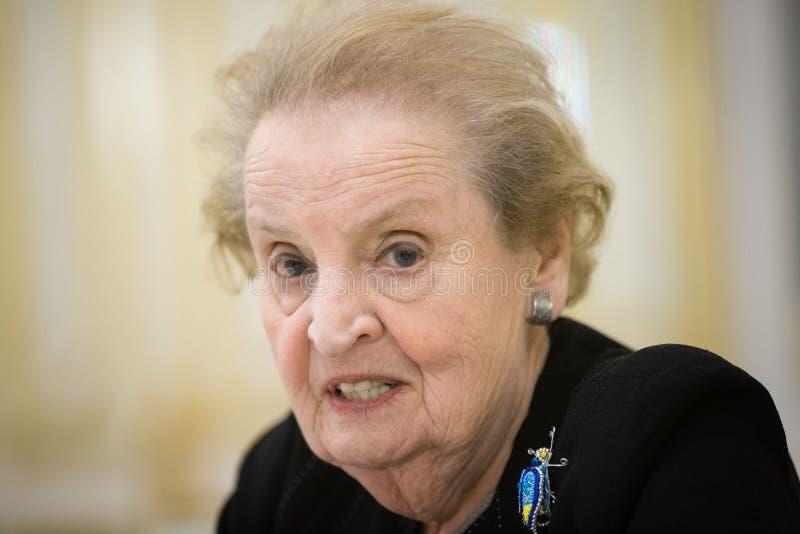 Ex presidente Thomas Jefferson degli Stati Uniti è descritto sul complemento della nota S Segretario di Stato Madeleine Albright fotografie stock libere da diritti